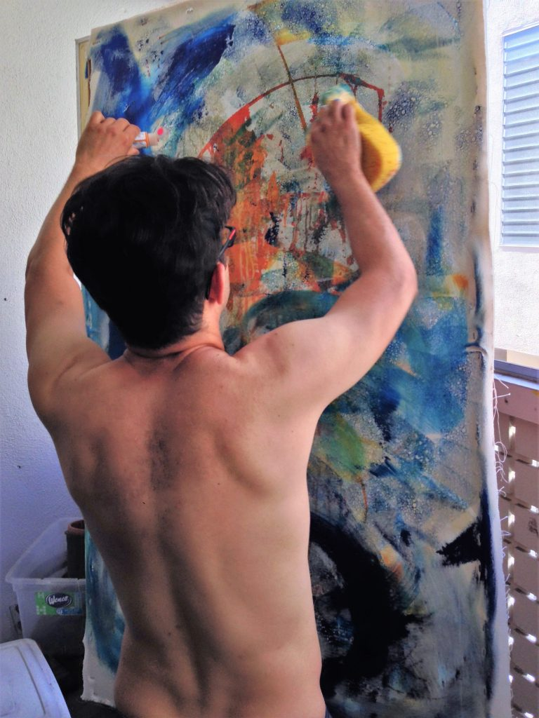 Los Angeles abstract artist - Nestor Toro in his West Hollywood studio